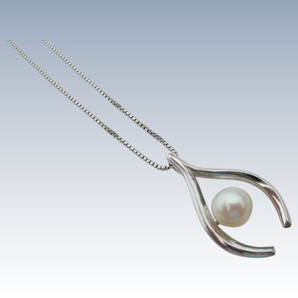 Mikimoto Pearl - Sterling Silver - Lucky Wishbone Pendant