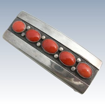 Frank Patania Sr - Sterling Silver & Coral - Belt Buckle