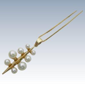 Mikimoto Pearls - 14K - Modernist Pendant