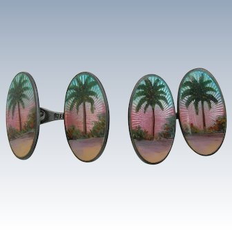 Enamel and Sterling Cufflinks - Tropical Island Palm Trees