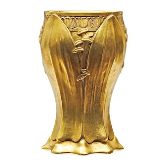 French Art Nouveau Gilded Bronze Vase by Leon Kann - Siot Foundry