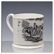 Antique Staffordshire Child's Cup / Mug with Hoop Trundling Decoration - Pearlware - Transferware - Transfer Ware