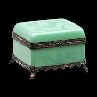 Peking Glass Box - Qing Dynasty Faux Jade with Enamel Mounts and Lotus Etching - Asian -  c. 1900