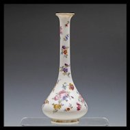 Large Opaline Glass Vase with Hand Painted Flowers