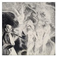 Erotic Opium Dream - Signed Etching by Listed Artist Franz Paul Glass