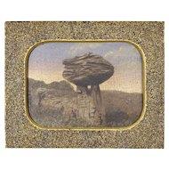 Fine 19th C American Folk Art Painting w/ Sandpaper Frame - Mushroom Rock in Kansas - Americana - Naive - Primitive