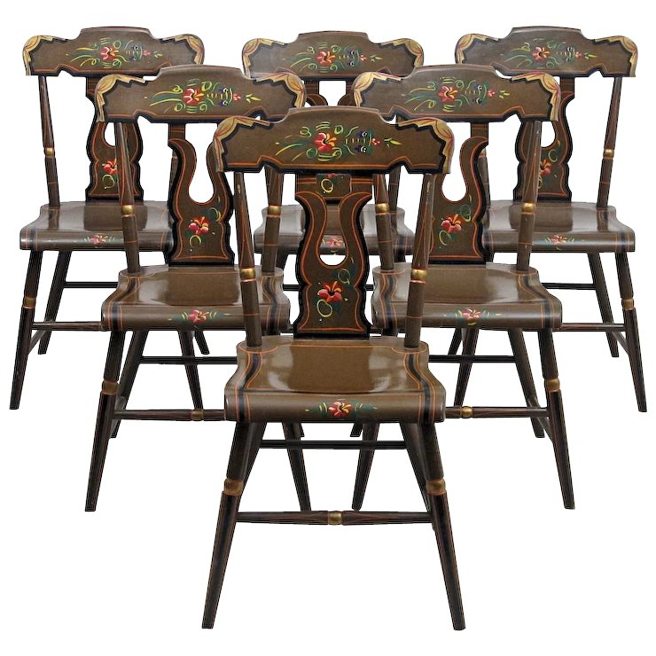 Lancaster County Pennsylvania Painted Chairs   Farm House Chairs   L. B.  Ebersol   Set Of Six