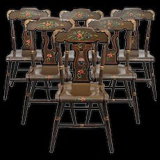 Lancaster County Pennsylvania Painted Chairs - Farm House Chairs - L. B. Ebersol - Set of Six