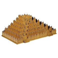 Folk Art Pyramid - Burnt Match Stick Platform - Matchstick Art - Prison Art - Americana