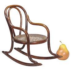 Antique Miniature Bentwood Rocker - Doll Furniture - Toy Chair