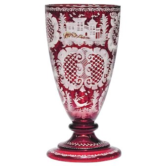 Antique Ruby Red Cut to Clear Bohemian Goblet Vase - Art Glass