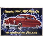 "Frazer Motor Car Advertising Poster - Huge 41 1/2"" x 61"" - 1947 - Mantiques - Americana - Automobiliana - Transportation"