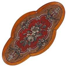 Antique 19th C English Tea Tray / Clock Stand / Salver - Victorian Beaded Quatrefoil Trivet - Hand Beaded Platform