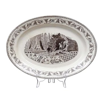 "Antique Aesthetic Transferware Turkey Platter - Enormous - Rare 19th C English Aesthetic Transfer Ware Turkey Platter of a Giant California Redwood Tree - T & R Boote - Transferware - 21 1/2"" x 15"""