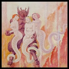 Satan and His Handmaidens in Hell - Erotic Watercolor / Gouache Painting by Franz Paul Glass