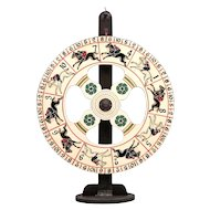 Carnival Gaming Wheel on Stand - Antique Folk Art - Wooden Steeplechase Gaming Wheel with Horses - Americana - Game of Chance - Carnival