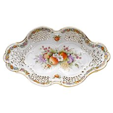 Antique Reticulated Footed Fruit Bowl - C G Schierholz & Sohn - 19th C Centerpiece Bowl