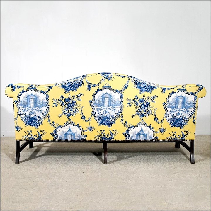 Chippendale Style Camelback Sofa   New Upholstery   Down Wrap Cushion    Couch   Setee