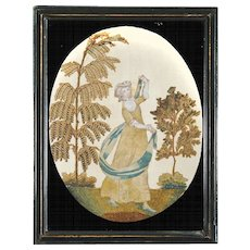 Antique Georgian Silk Work and Cheneille Embroidery of a Woman Twirling with a Blue and White Sash - Framed with an Eglomise Oval Mat - 1790 - 1800 - Georgian Silkwork