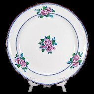 Large Antique Charger or Chop Plate with Molded Floral Decoration, Transfers, and Hand Painting - Copeland Spode - Earthenware