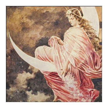 Lady Moon  - Original Painting after Hermann von Kaulbach