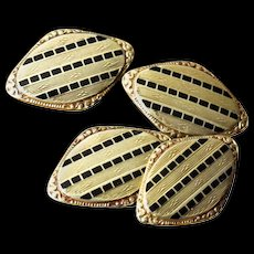 Antique 14K Gold Double Sided Cufflinks - Rose Gold, Yellow Gold, and Black Enamel - Men's or Women's Jewelry - Unisex - Cuff Links