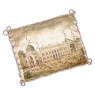 Rare Antique Souvenir Printed Silk Pincushion - Paris Universal Exhibition of 1900 - Exposition Universelle de 1900 - Sewing