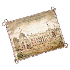 Rare Antique Souvenir Printed Silk Pincushion - Paris Universal Exhibition of 1900 - Exposition Universelle de 1900 - Sewing