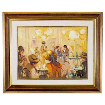 20th C Impressionistic Cafe Scene - Oil on Canvas - Signed and Framed Under Glass