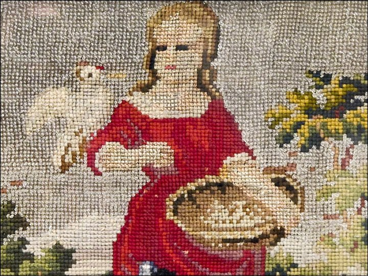 Antique Victorian Beaded Embroidery Of A Girl Feeding Chickens