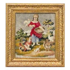Antique Victorian Beaded Embroidery of a Girl Feeding Chickens - Berlin Work - Berlinwork - Needlepoint - 19th C