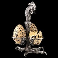 Victorian Individual Figural Egg Service - Macintyre and Co. Ltd. Pottery Eggs with Early Reed and Barton Silver Plate Rooster Stand - 19th C Antique - 1884 - Tableware - Table Ware - Egg Cup