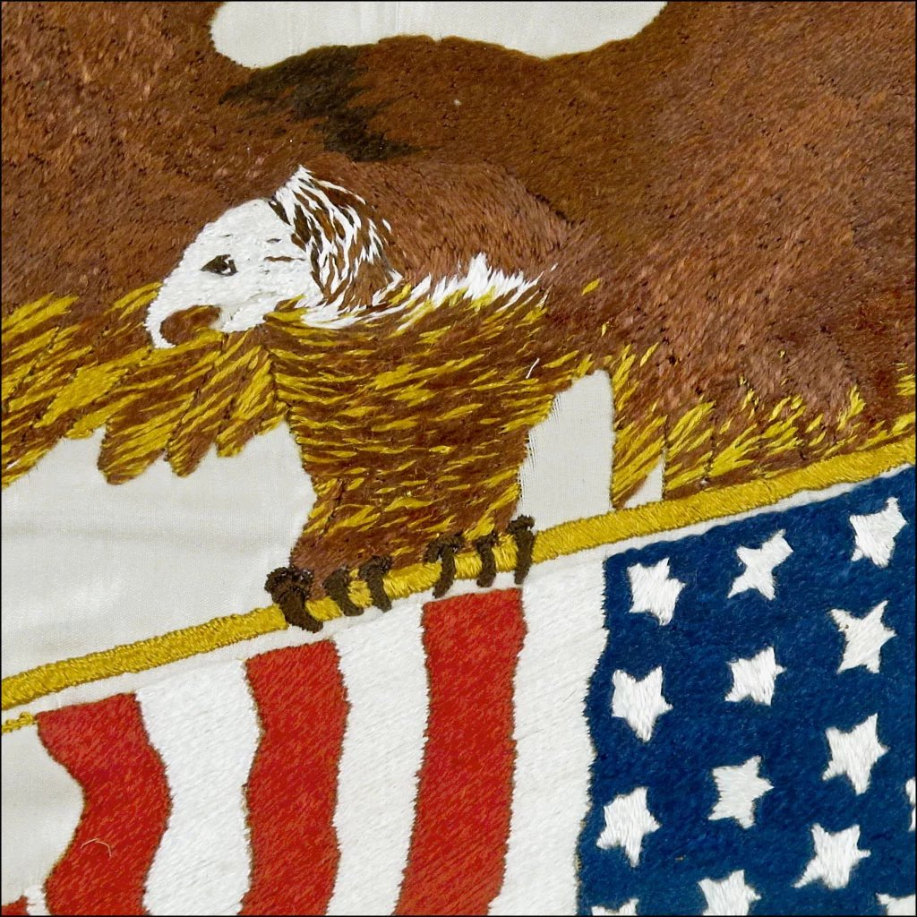 Americana Patriotic Folk Art Embroidery Eagle Holding