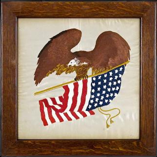 Americana Patriotic Folk Art Embroidery - Eagle Holding American Flag