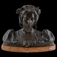 Art Nouveau Bronze by Antonio Ugo (1870 - 1956) - Bust of a Beautiful Woman