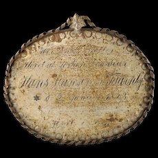 Antique Danish Grave Marker of a Jewish Gardener, 1823 - Memorial Plaque - Tole Ware