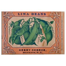 19th C Shaker Can Label - Americana - Folk Art - Watervliet, NY Community 1870's - 1880's - Henry George Lima Beans - Wm. Everdell's Sons, Printers, 104 Fulton Street, NY