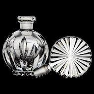 Cut Crystal Perfume Bottle with a Sunburst Stopper - Cut Glass - Czech - Bohemian