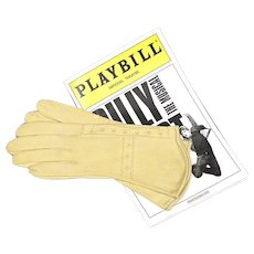 French Leather Gloves - Suede Kidskin with Decorative Detailing - Butter Yellow