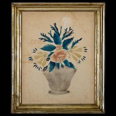 Antique Theorem Painting on Paper in Period Lemon Gold Frame - Signed in Pencil - School Girl Painting - Folk Art