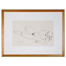Andree Ruellan - Drawing of a Female Nude in Graphite - Signed and Framed