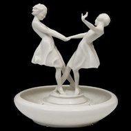 Porcelain Centerpiece with Flower Frog Base - Hutschenreuther Sculpture by Carl Werner - Dancing Women - Girls