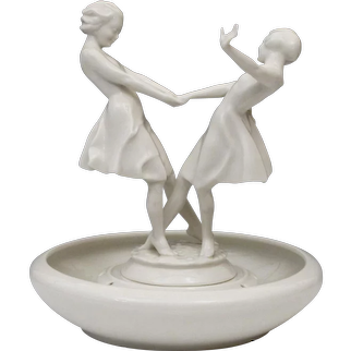 Porcelain Centerpiece with Flower Frog Base - Hutschenreuther Sculpture by Carl Werner - Dancing Women - Girls