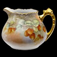 Antique Porcelain Pitcher with Signed Strawberry Painting and Gilded Handle - Hand Painted Ceramic Art for Cider or Lemonade