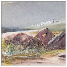 Landscape Painting Watercolor of Leather Tor Dartmoor in Great Britain - Signed