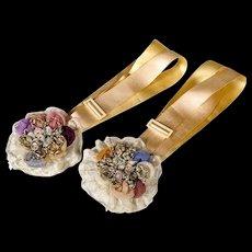 Antique Silk Garters - Chiffon Roses and Metallic Trim - Bridal - Wedding