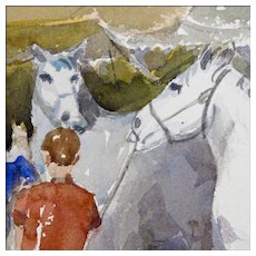 Alan Meiers 20th C Watercolor - Circus Painting with Horses - Ringling Bros. and Barnum & Bailey