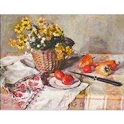 Maria Balakova - Impressionist Still Life Painting of Flowers, Fruit, and Linen - Impressionism