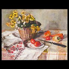 Maria Balakova - Impressionist Still Life Painting of Flowers, Fruit, and Linen - Impressionism