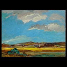 Naumovic - Impressionist Landscape Oil on Board — Mid 20th C Dutch Panorama